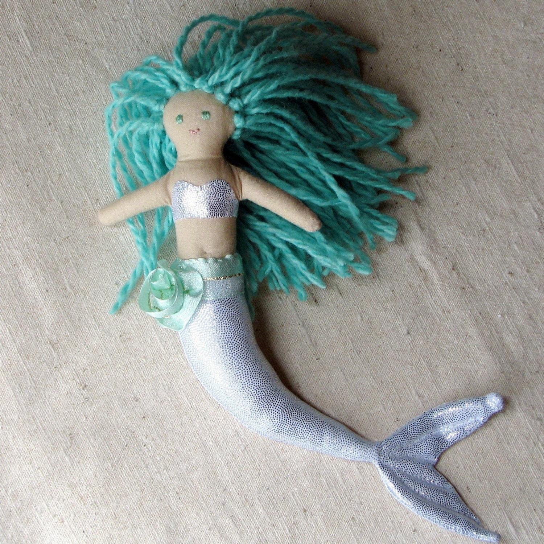 Mermaid cloth doll, sparkly silver with aqua green hair