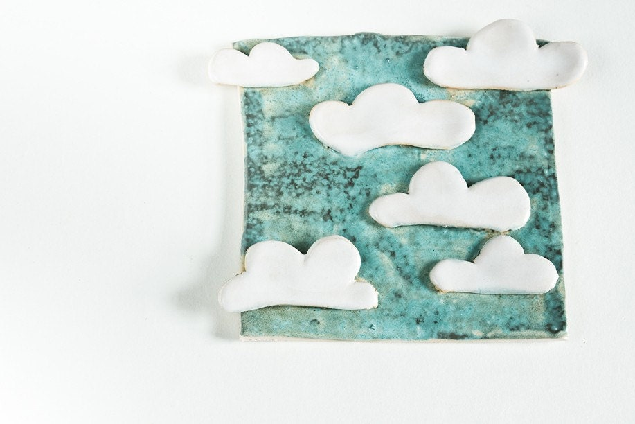 limited edition tile, 6 CLOUDS in the SKY, handmade in Ireland