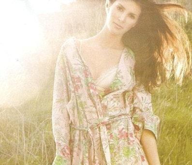 Kimono Style Robe.  Ankle Length.  Pink Love Poppy.