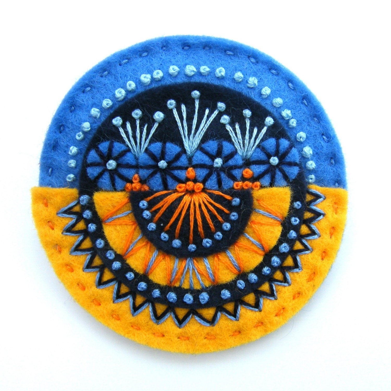 AZTEC FELT BROOCH WITH FREEFORM EMBROIDERY