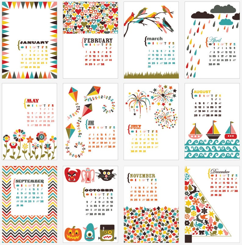 2013 Desk Calendar 5x7 GRAPHIC BOLD BRIGHT fun