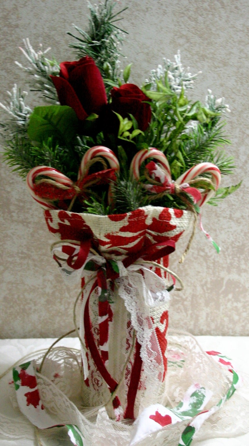 Items similar to burlap wedding centerpiece christmas for Burlap christmas table decorations