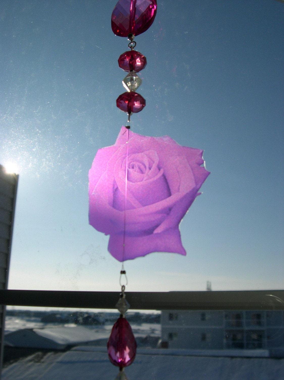 Pink Romance Rose Sundrop Suncatcher