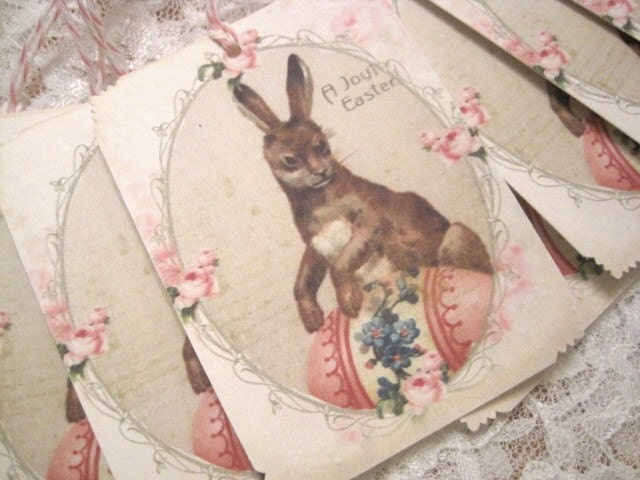SET OF 9 - Easter Bunny Gift Tags - Vintage Greeting Cards - A Joyful Easter - Bunny - Eggs - Shabby - Floral - Roses - Pink - Buy Three Get One Free