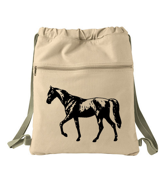 Canvas Drawstring Backpack - Beautiful Horse  - Khaki Tan Back Pack