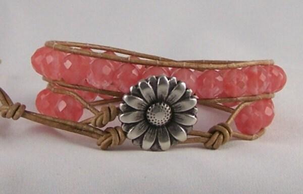 Ladies Rose Quartz Leather Wrap Bracelet, Energy Jewelry, Gemstone Wrap Bracelet, Great Gift Ideas, Free Shipping