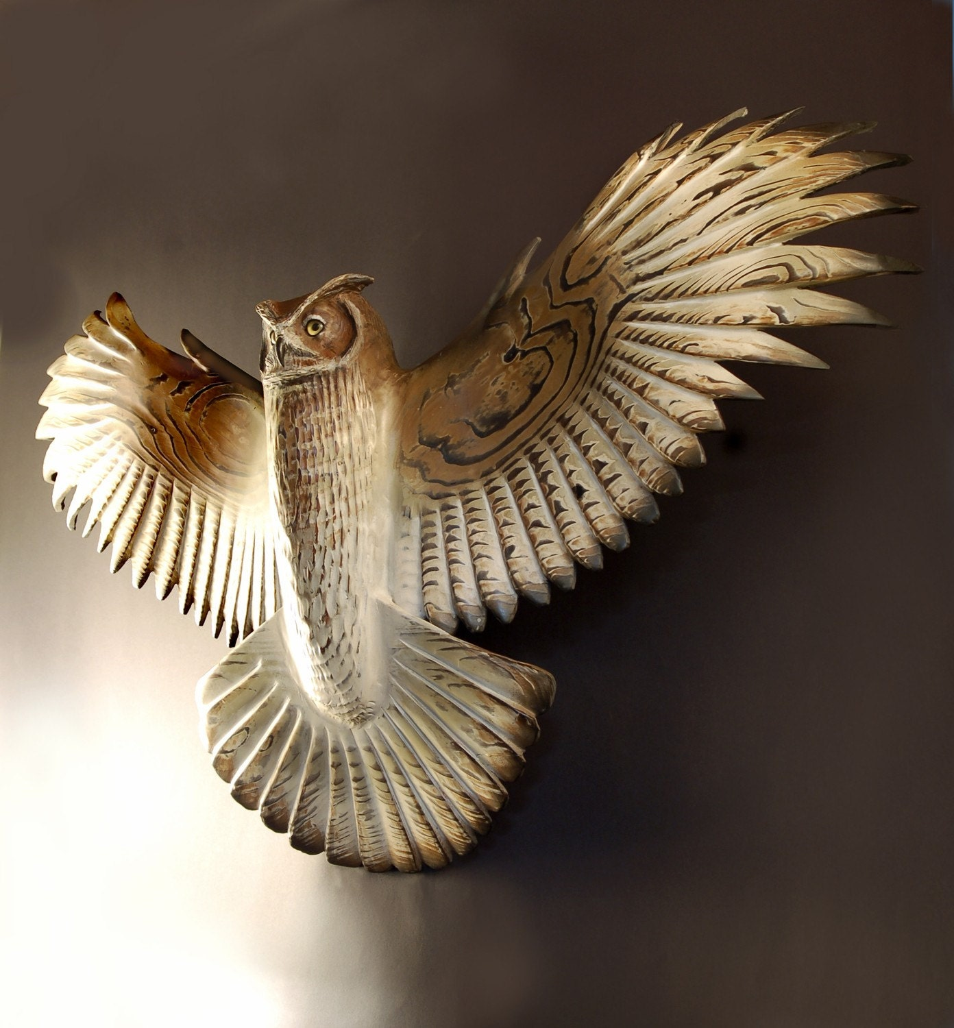 Owl Sculpture hand carved by Jason Tennant, Silent Flight, Owl woodcarving