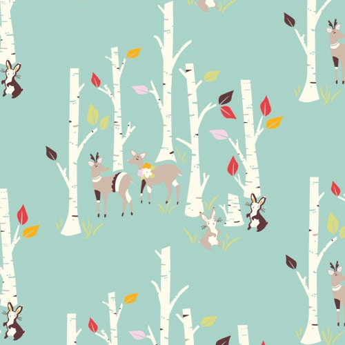 Organic Teal Woodland Fabric, Birch Forest - Yay Day by Birch 1 Yard - CreateByTheYard