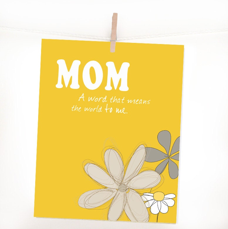 Yellow, Mother's Day Gift, M O M, Typography, Heart, Word Art, Gift for Mom 8X10 Shabby Chic Home Decor, Typography, For Mom