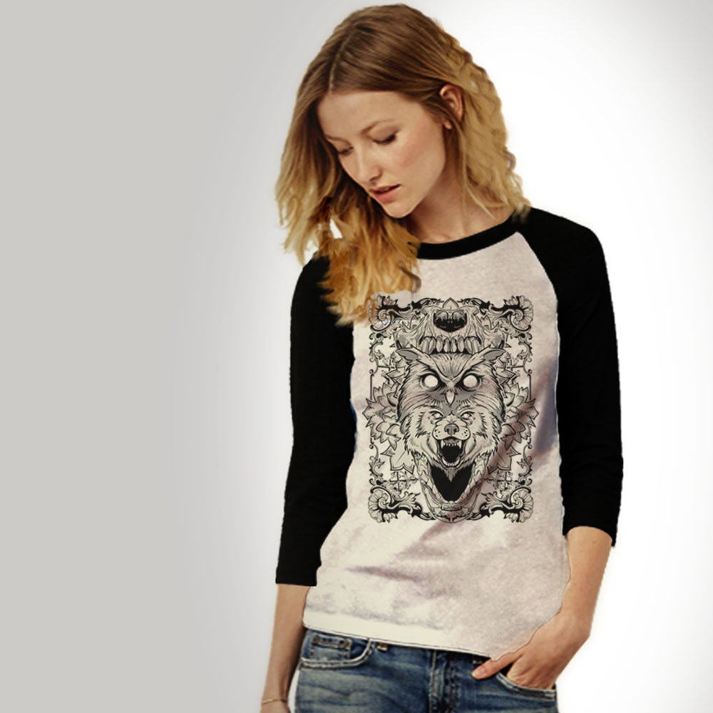 Animal CollageBlack Raglan TeeUnisex AdultsBaseball JerseyTrending T ShirtsAnimal ShirtMothers Day GiftWolf Print Clothing