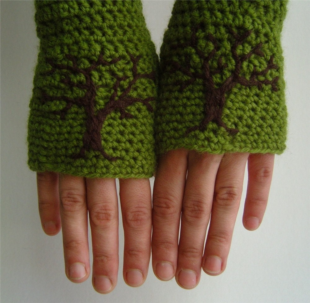Armwarmers with Tree Design - Wool Acrylic Avocado Green and Dark Brown