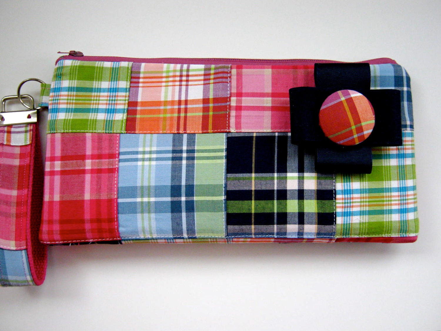 Preppy Wristlet Wallet Clutch - Pink Plaid Summer Fashion