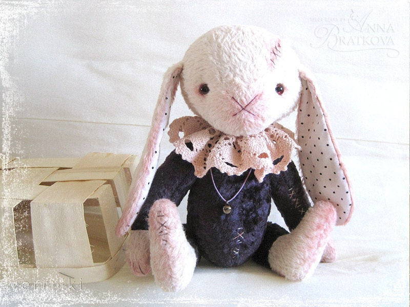 Pattern to create Teddy like Rabbit Bom White pink in Purple suite beige grey - zverrriki
