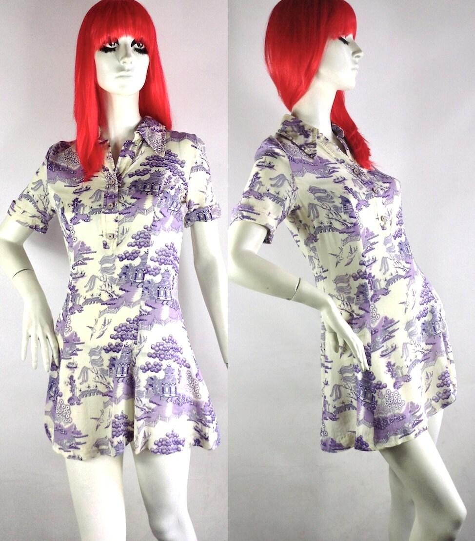 Vintage 1960s  70s LoUis Caring mini dress  oriental  Pop Art  Psych  Hippie  Deco
