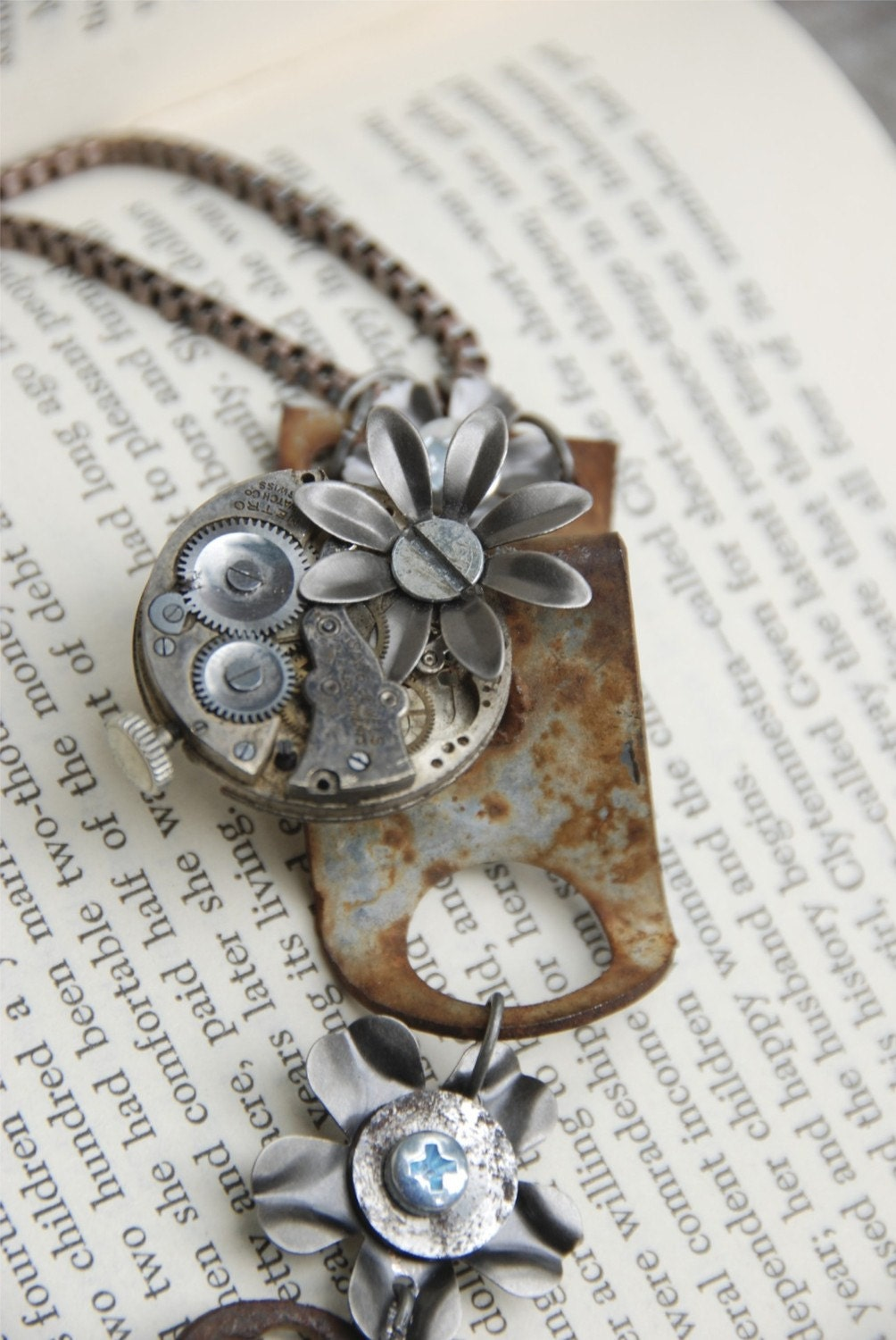 Salvaged metal and watch part necklace