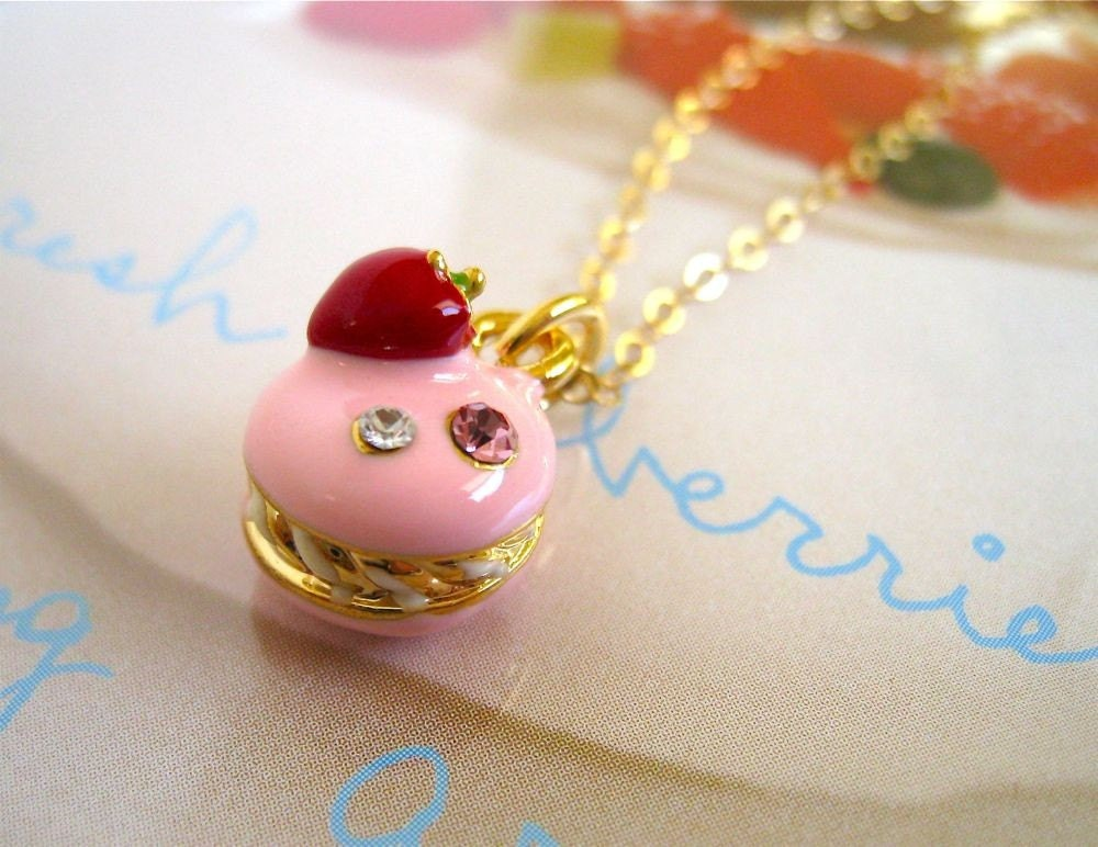 Strawberry Macaron Charm Necklace