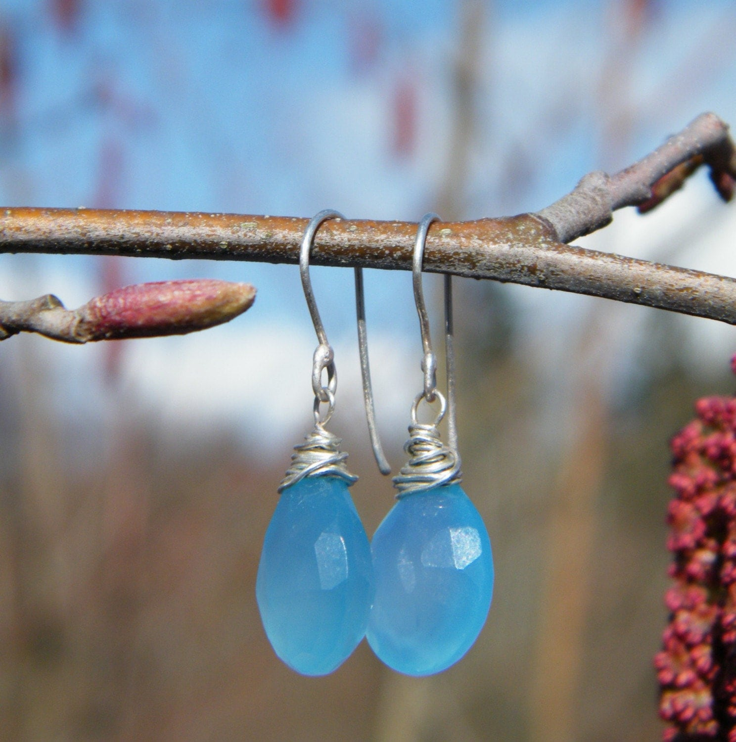 Earrings in Sky blue Chalcedony and Sterling Silver - Blue Sky Days