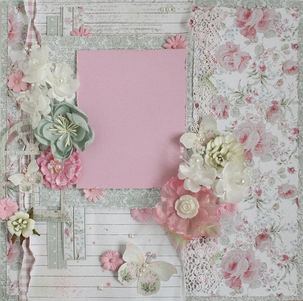 SALE Premade 12x12 Shabby Chic Scrapbook Layout by ...