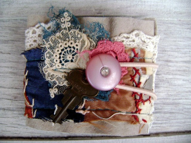 High Lonesome blue grass inspired antique crazy quilt cuff all recycled from down de bayou
