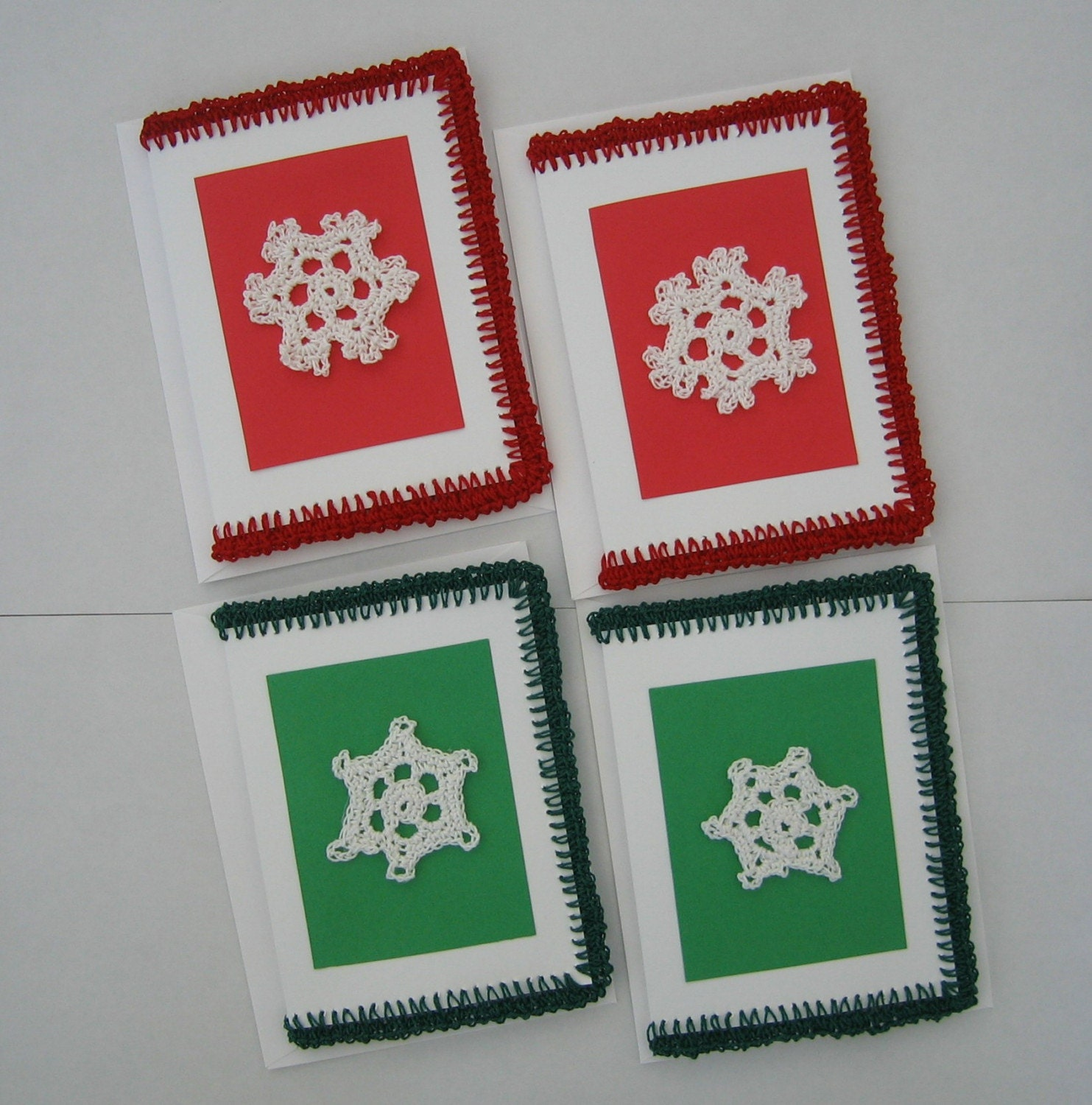 Old Style - New Look - Crocheted Snowflake Christmas Cards - Set of 4