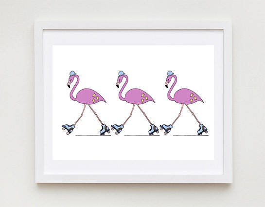 Rollerblading Flamingos  Unframed Art Print Monkey Drawing Nursery Picture Animal Wall Art Childrens Decor Kids Bedroom.