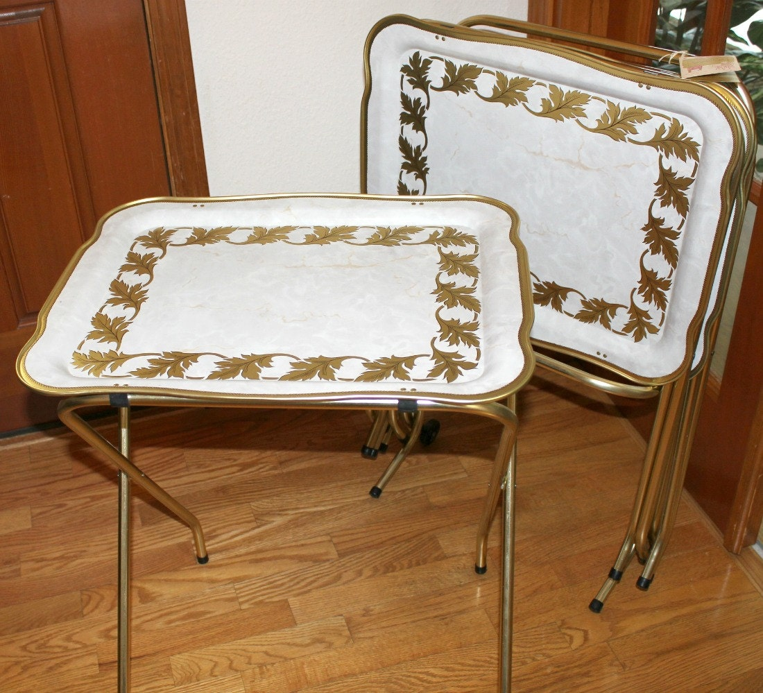 TV Tray Tables Are Boring, Right? Au Contraire, Little Bearu2026.I Found A Few  Adorable Vintage Ones With Golden Y Legs That I Think Could Be Very Cool.