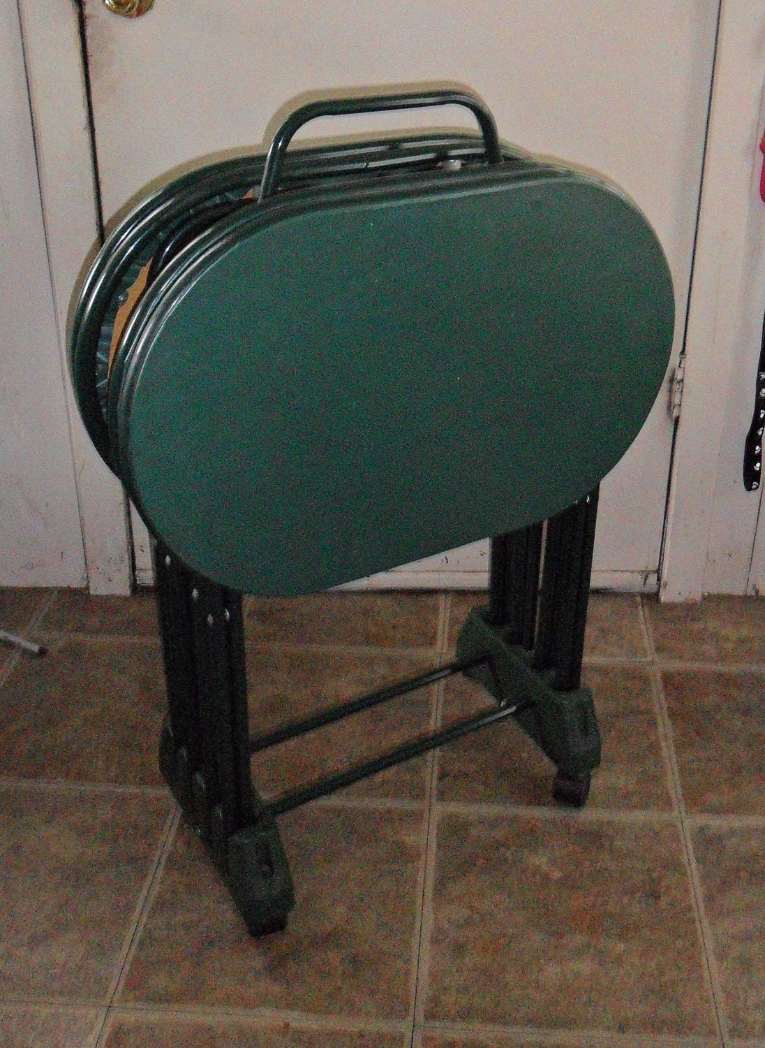 Vintage Cosco Green Oval TV Tray Tables By WierdandWonderful