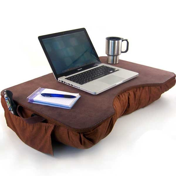 Jumbo Brown Faux Leather Lap Desk with Pockets by LapDeskLady