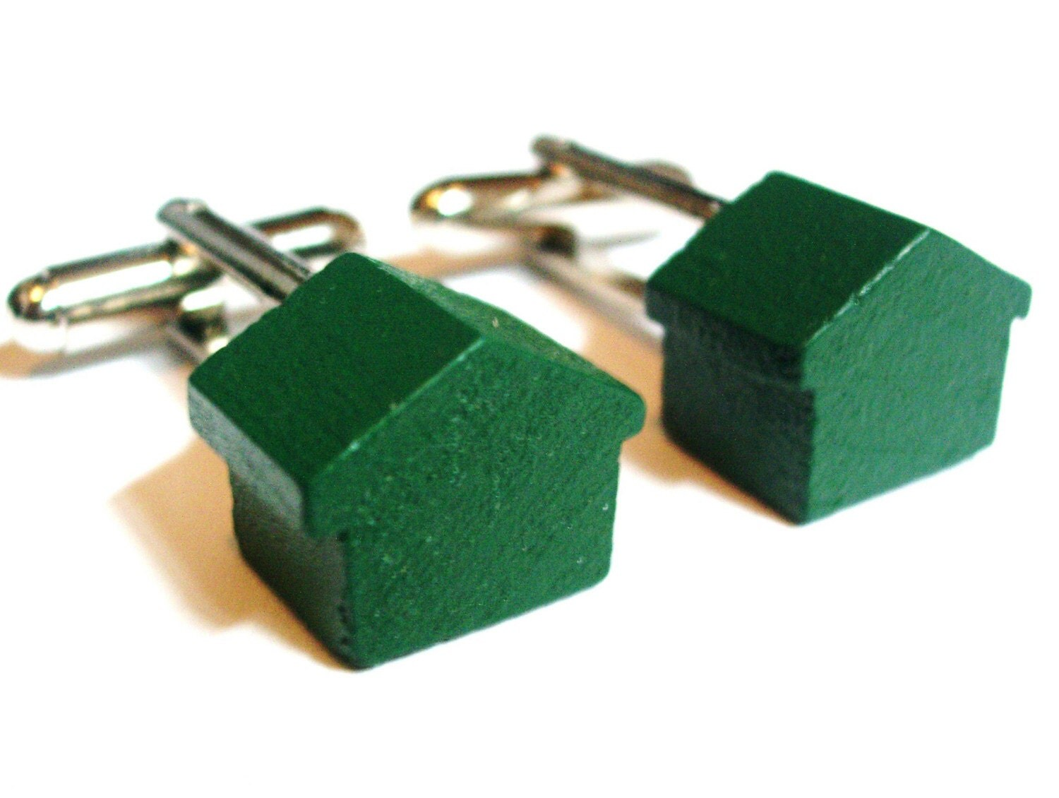 Monopoly Wooden Green House Cufflinks