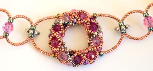 Ring Nebula Beaded Necklace -- Strawberry Striped Torus