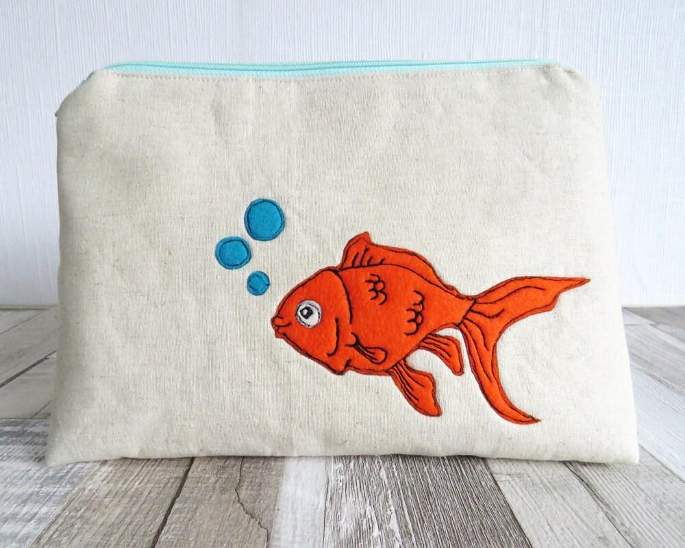 Goldfish wash bag makeup bag zipped purse cosmetics bag makeup bag cosmetics purse orange fish turquoise toiletry bag makeup purse