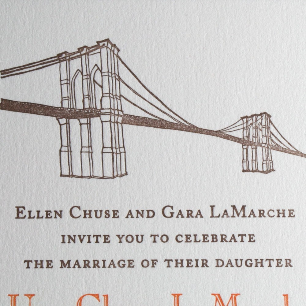 Wedding invitations Brooklyn Bridge theme - letterpress printed (set of 100)