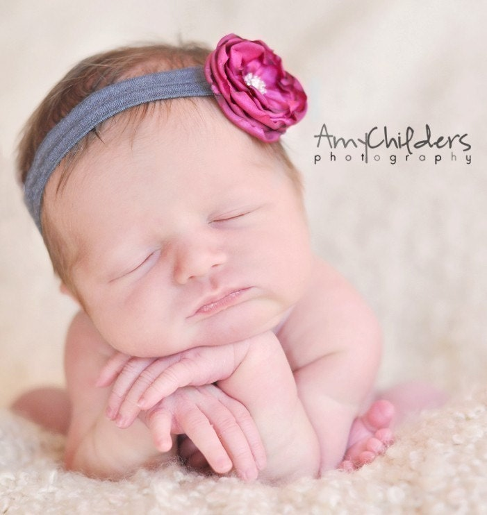 Small Fuchsia Flower on Gray Soft Headband - Baby Headband Newborn Headband Perfect for Photo Prop
