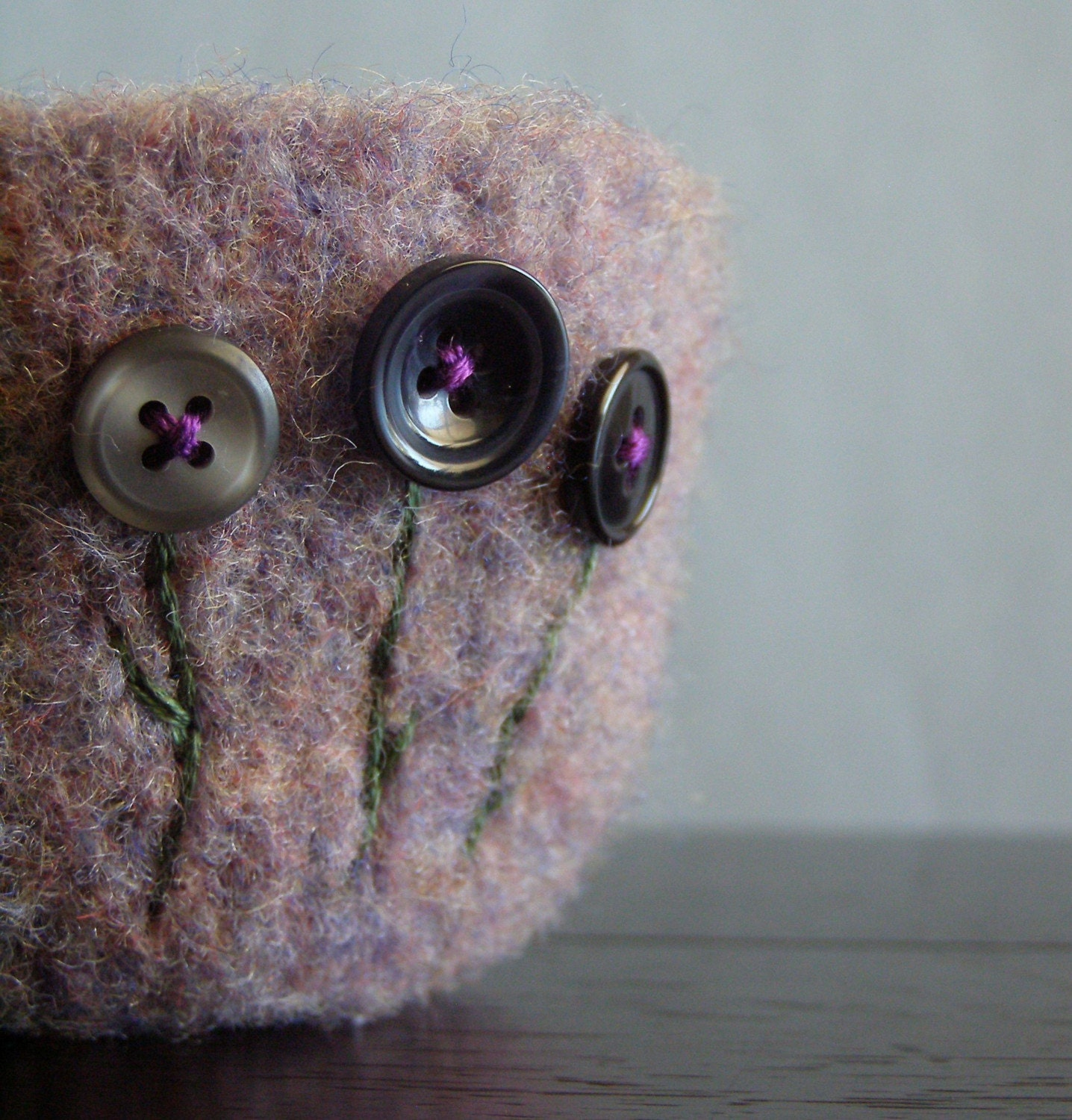 fuzzy felted lavender wool bowl with three grey button flowers