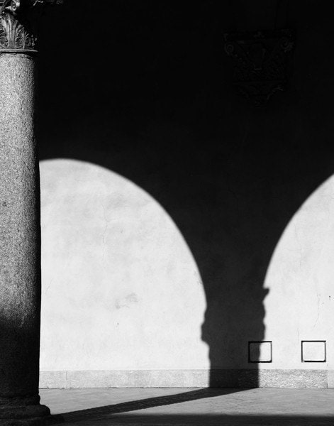 "Black and White Photograph of Italy - ""Column and Shadows in Milan"""