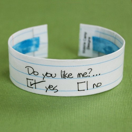 Do You Like Me Circle Yes or No - Sweetheart Valentine Cuff Bracelet - Version 2 - Ready to Ship