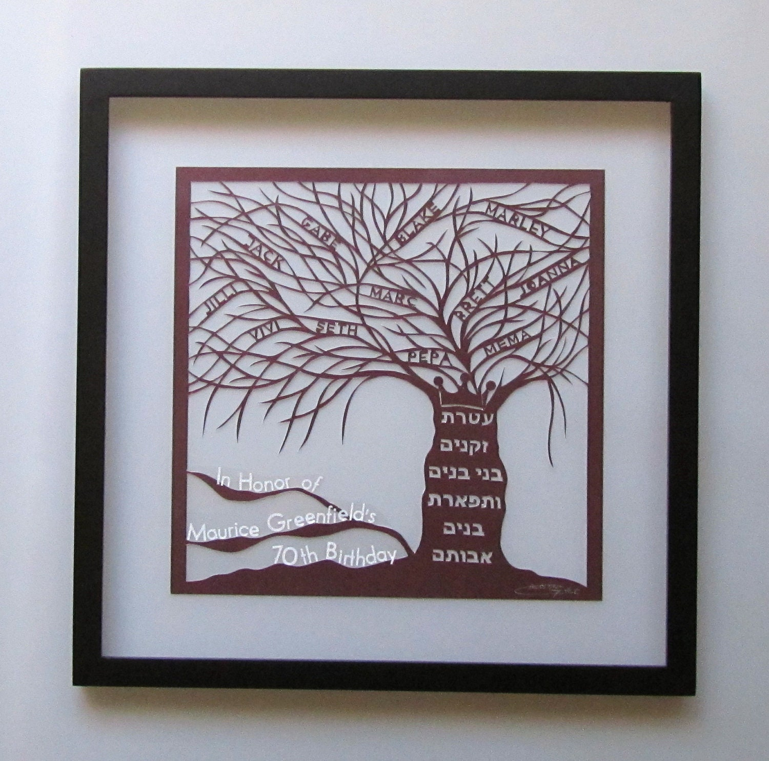 Wall Decoration By Paper Cutting : Family tree of life silhouette paper cut custom order by