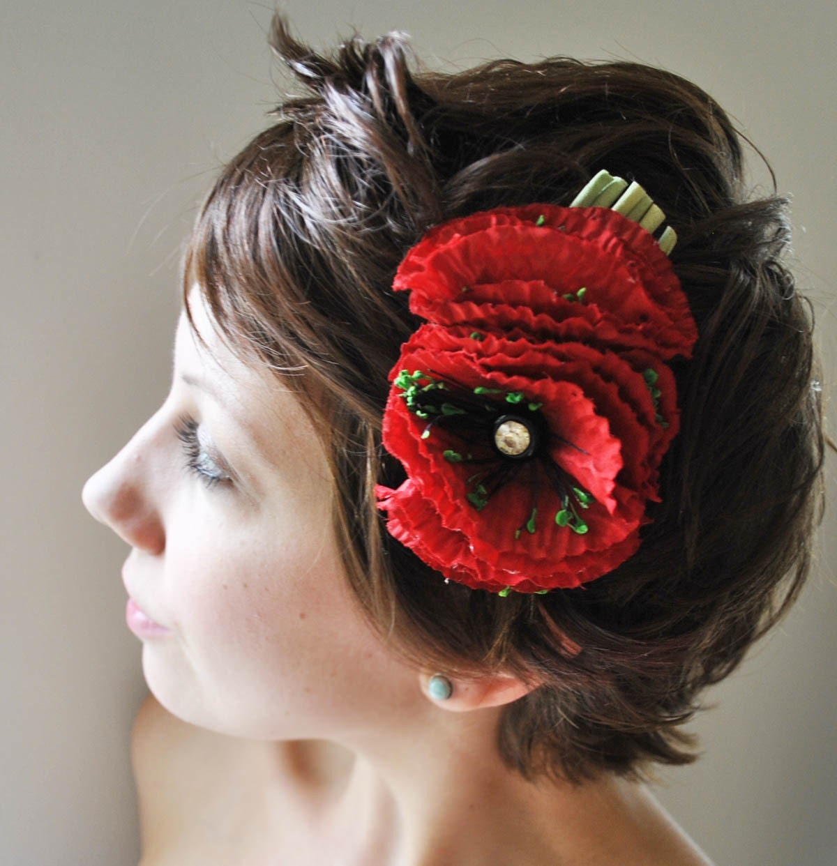 poppies - vintage millinery comb