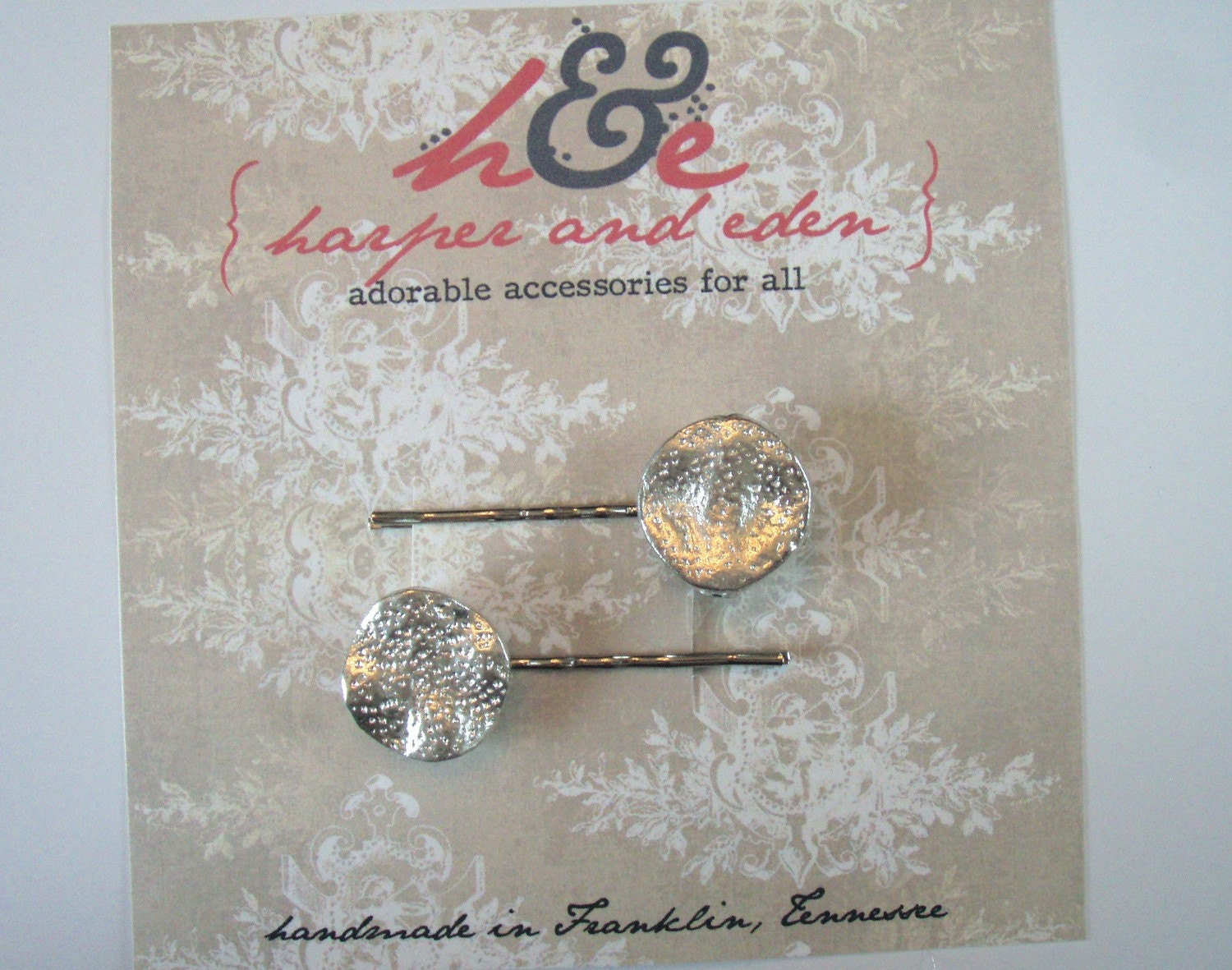 FREE Shipping - Hammered Metal Disc on Silver Bobby Pins