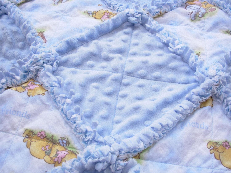 Winnie the Pooh Blue Minkee and Flannel Baby Rag Quilt