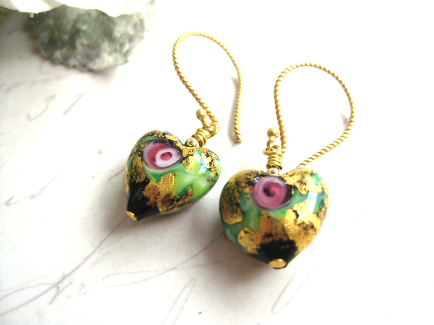 Stunning black and gold Venetian 13mm puffed hearts exquisitely decorated on 14kt gold Vermeil wires