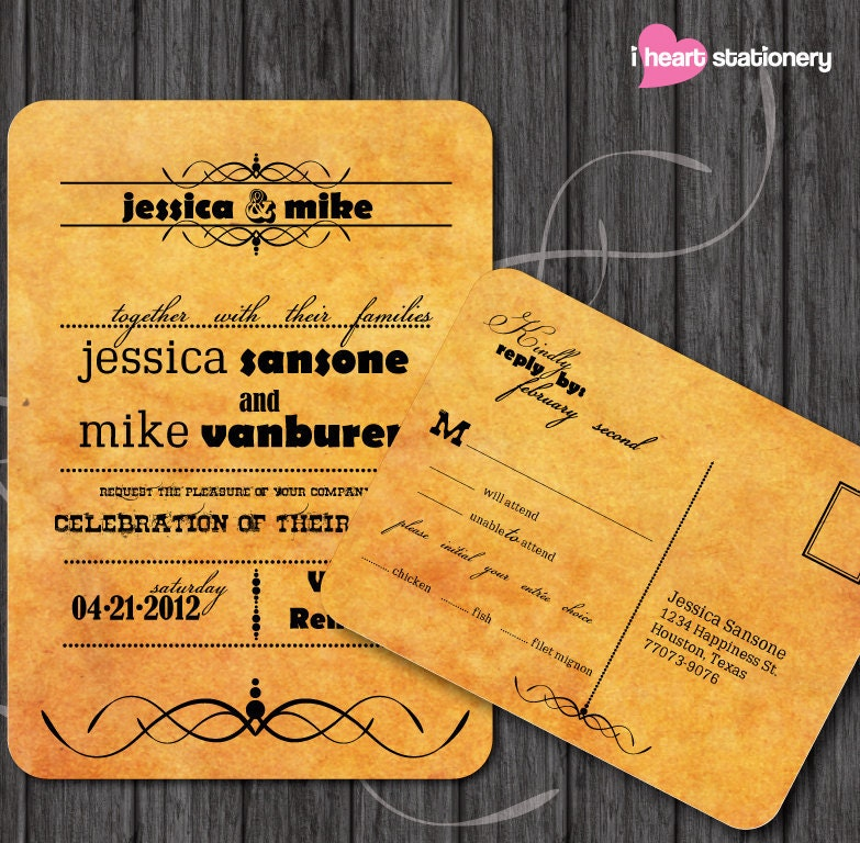 DIY Modern and western inspired Wedding invitation and RSVP - Printable