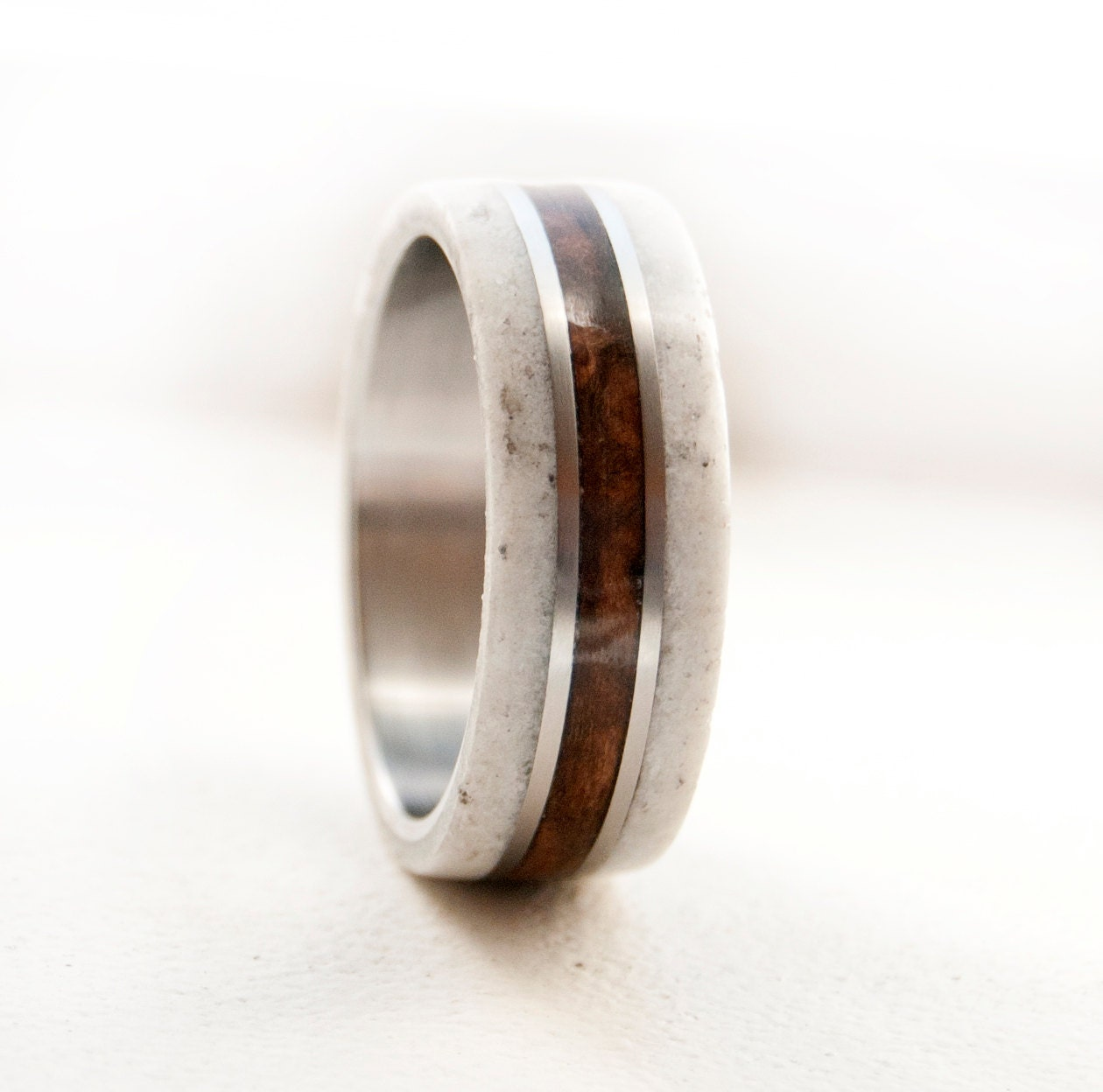 mens wedding band wood ring with antler and by stagheaddesigns. Black Bedroom Furniture Sets. Home Design Ideas