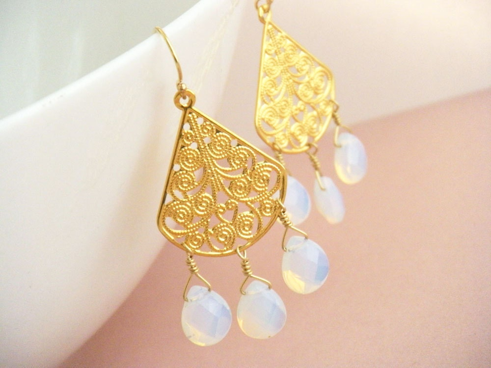 Opal Glass and Gold Filigree Earrings - Atlantis - merryalchemy
