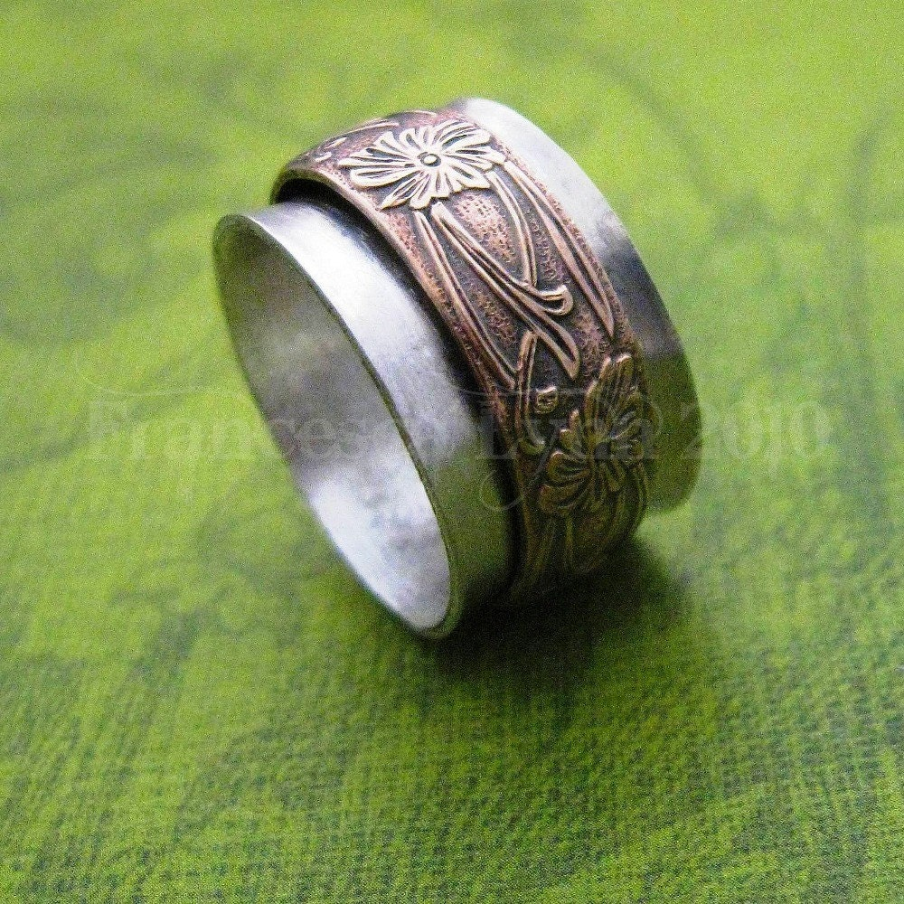 meditation ring sterling silver with gold floral by