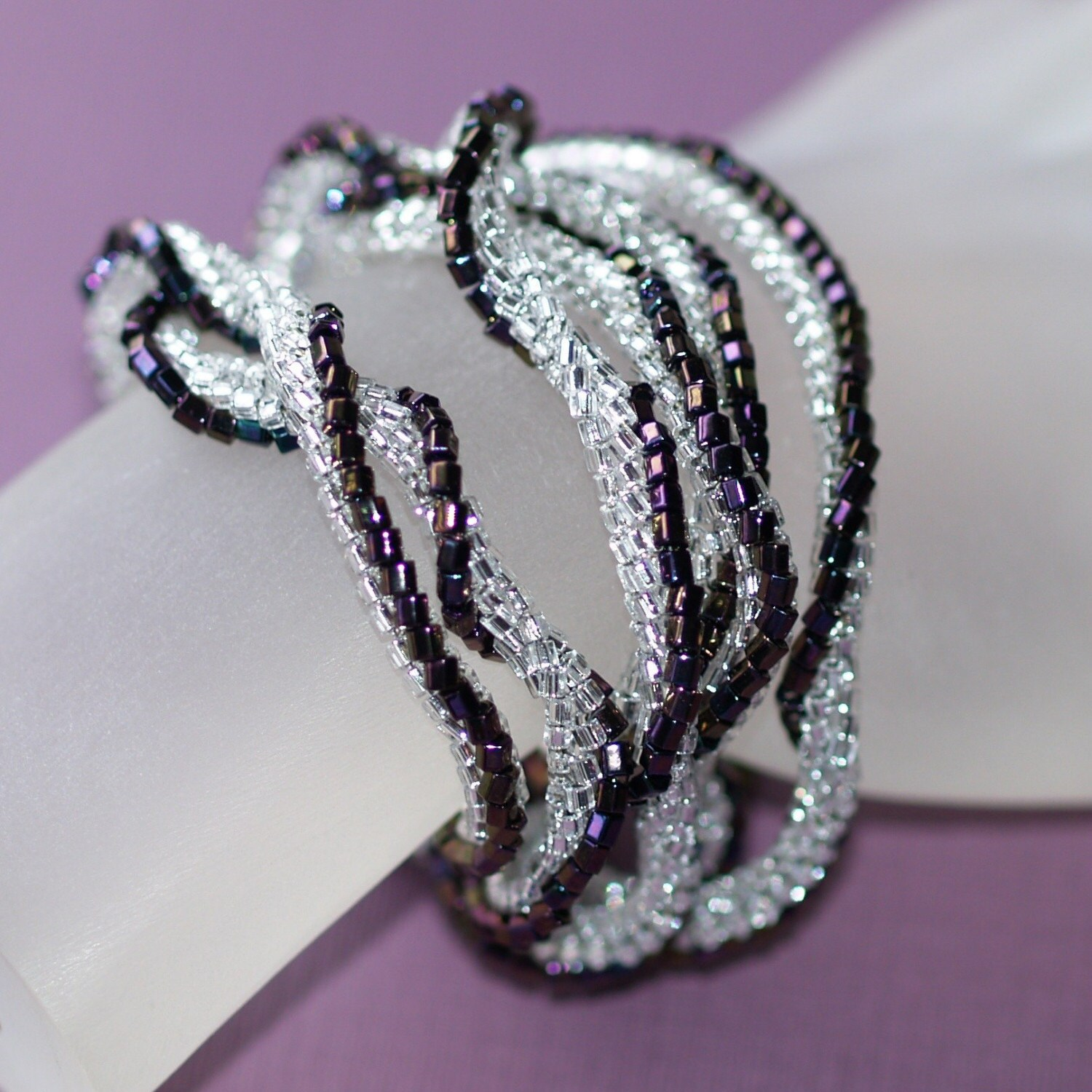 Zuleika - Twisted Ndebele Rope in Silver and Plum (3072)