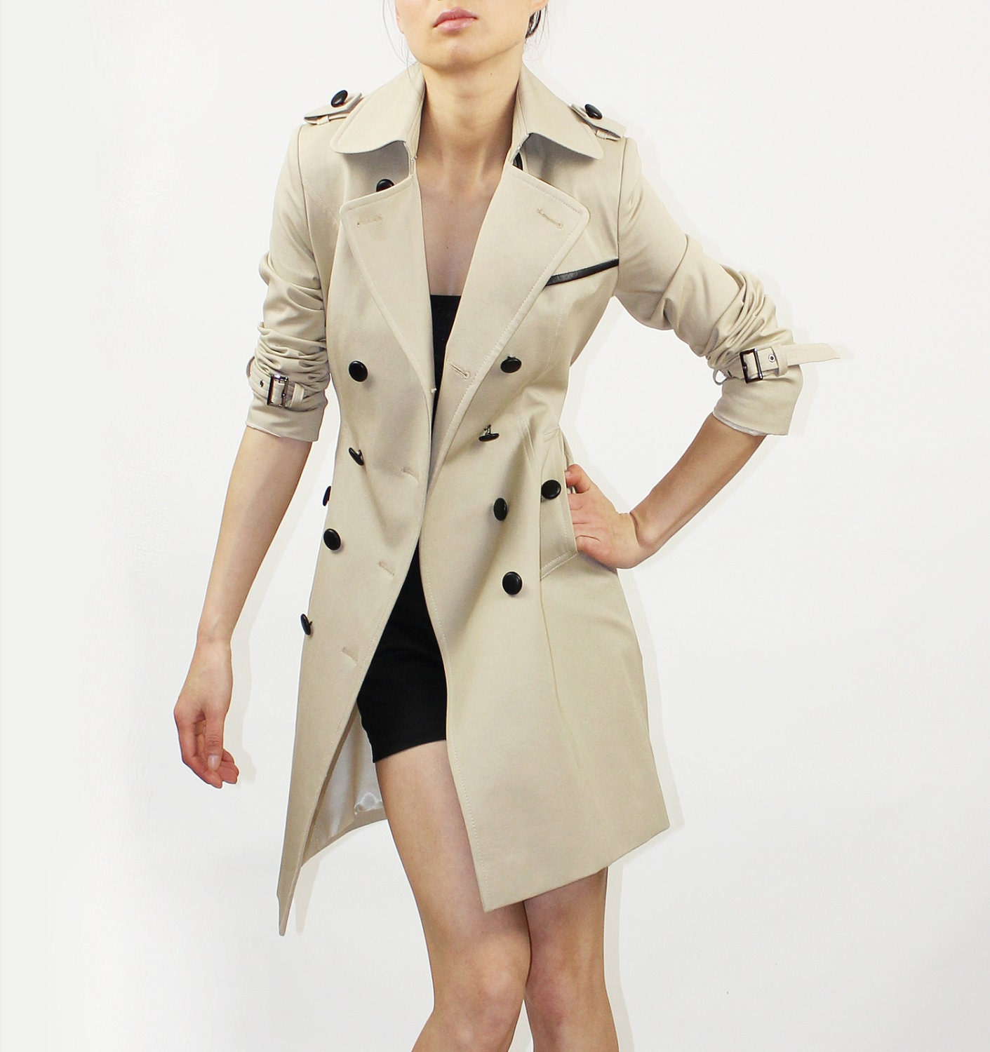 Beige trench coat with black leather