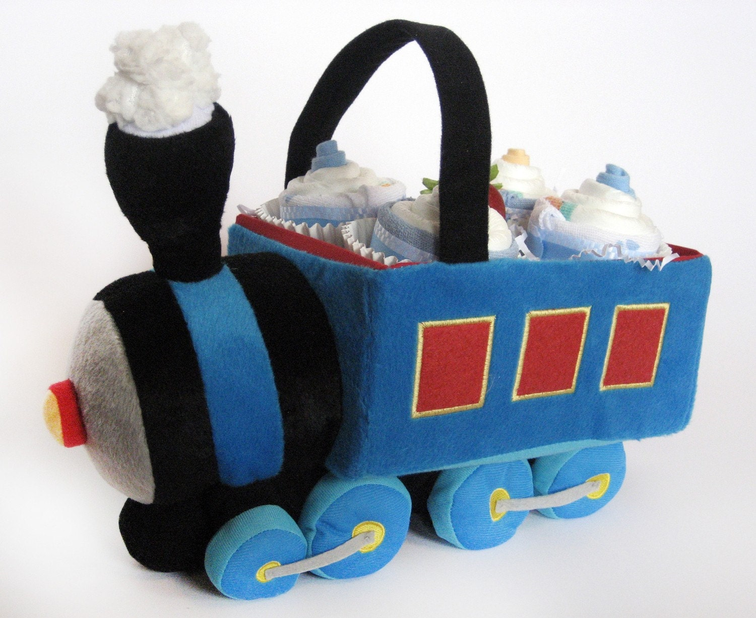 LIMITED EDITION - Choo choo train gift basket with diaper cupcakes