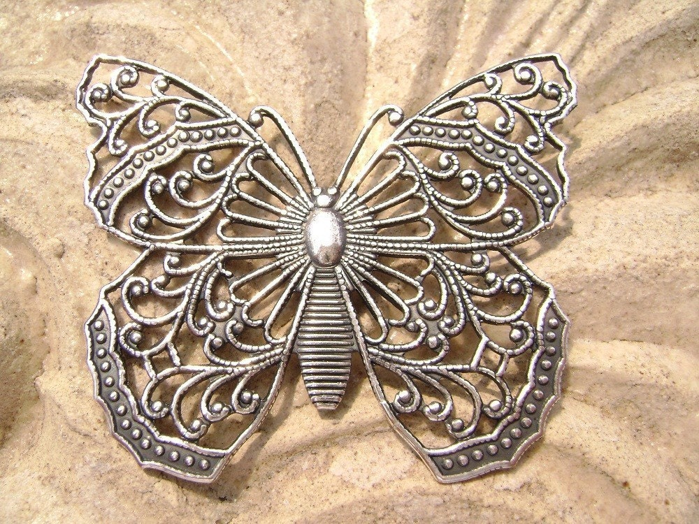 Large Antiqued Silver ptd Filigree Stamped Butterfly Pendant