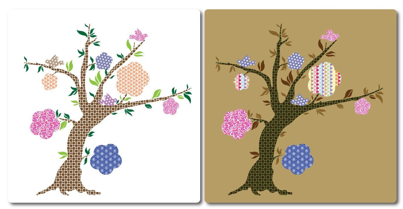 Funky Floral Tree decal  Wall art mural vinyl sticker  Match pbt De Vine and bedding and more
